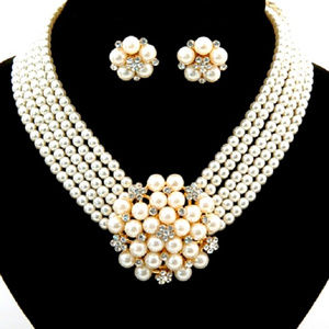 Jewelry - Audrey Style Pearl Crystal Costume Necklace Set